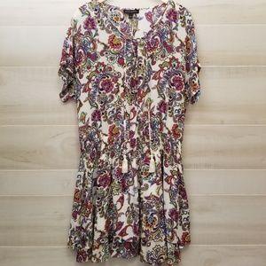 {L} Banana Republic Floral Paisley Layered Dress